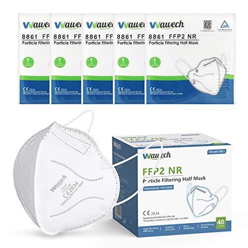 Wawech Mascarillas FFP2 40 pcs Desechables Con Orejeras Ultra Protección Homologada Certificado CE y EN 149:2001+A1:2009
