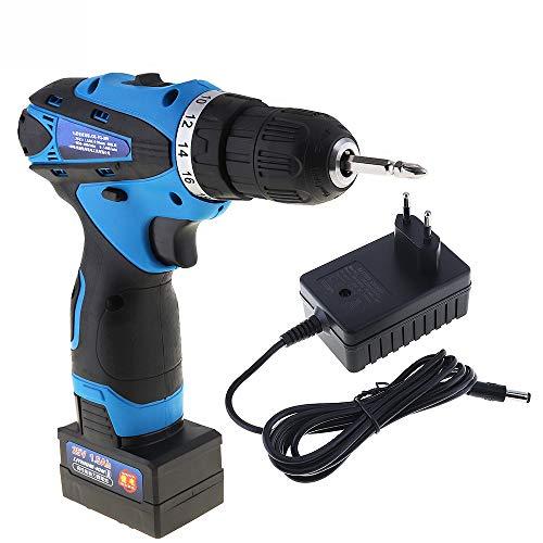 QWERTOUY 25V Electric Power Tools Trapano Elettrico Screwdrive a Due velocità Batteria al Litio Ricaricabile Cordless Impact Drill