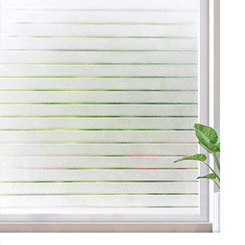 rabbitgoo Frosted Window Film Static Cling Decorative Glass Film UV Protection Window Privacy Film Non Adhesive Window Cling for Home Office Meeting Room, Frosted Stripe Patterns, 35.4 x 78.7 inches