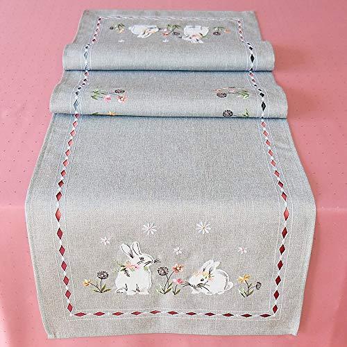 matches21 tafelloper tafelkleed Pasenhazen bloemen grijze stick bont filigraan lente 40x140 cm 100% polyester