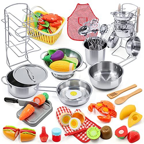 Kids Pretend Play Kitchen Toys Accessories Set, 34PCS Stainless Steel Toy Pots and Pans Sets w/ Rack Organizer, Cooking Utensils & Holder, Apron, Play Food Toys w/ Basket for Kids Girls Boys Toddlers