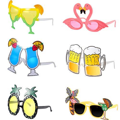 meekoo 6 Stücke Hawaiian Tropisch Sonnenbrillen Lustige Brillen Kostüm Sonnenbrillen Sommer Party Gefälligkeiten