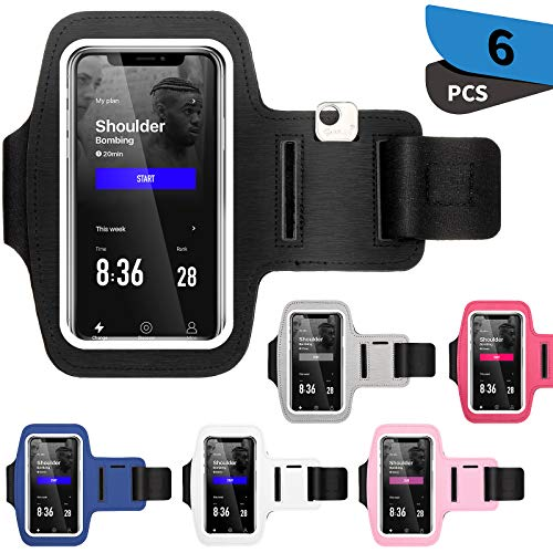 6 Pieces Cell Phone Armband Case Adjustable Elastic Phone Band Water Resistant Phone Armband Holder for Most Smartphones, Hiking Biking Walking Running Use, 6 Colors