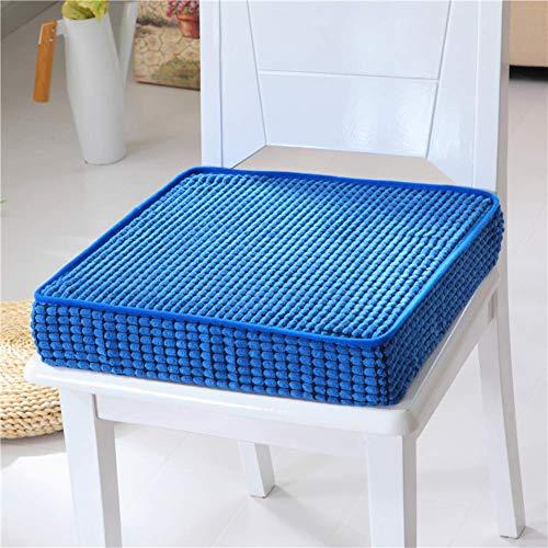 DJ Stuhlkissen Quadratische Dicke Sitzkissen, Rutschfester Memory-Schaum Einfarbig Waschbar Mit Reißverschluss Für Innen Außen Boden Kissen-Navy 45x45x8cm (18x18x3inch)