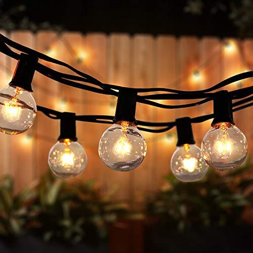 Lichterkette Außen Qomolo Lichterkette Glühbirnen Aussen G40 35er Birnen Garten Beleuchtung für Innen und Draußen mit Ersatzbirnen 11 Meter Warmweiß [Energieklasse A+]