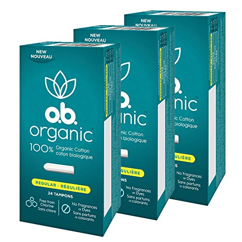 ob Organic Tampons Made with 100% Organic Cotton Proven 8 Hour Leak Protection Regular 24 Count Pack of 3
