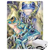 Morebee Frog Fleece Throw Blanket Personalized Soft Lightweight Blanket for Bed Couch Sofa Travelling Camping for Kids Boys Adults(30'x 45')