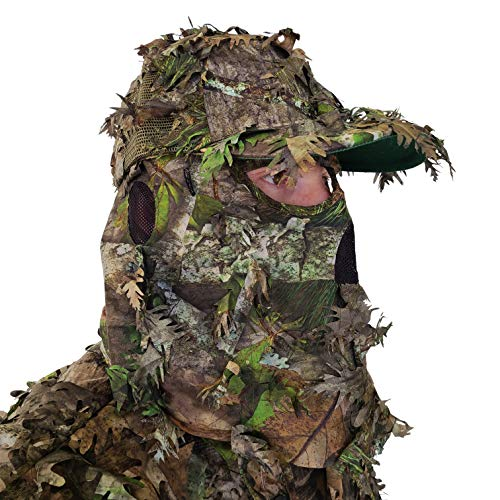 QuikCamo NWTF Mossy Oak Obsession Camo Hat with Built-in 3D Leafy Face Mask, Turkey Hunting Gear for Ghillie Suits and Bowhunting (Adjustable, One Size Fits Most