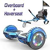 COLORWAY Hoverboard Hover Scooter Board 6,5' con Asiento Kart con Ruedas de Flash LED, Patinete Eléctrico Altavoz Bluetooth y LED, Autoequilibrio de Scooter Eléctrico