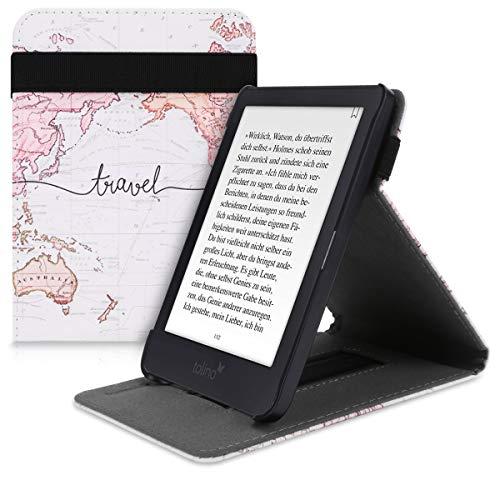 kwmobile Tolino Shine 3 Hülle - Schlaufe Ständer - e-Reader Schutzhülle für Tolino Shine 3 - Travel Schriftzug Design Schwarz Mehrfarbig