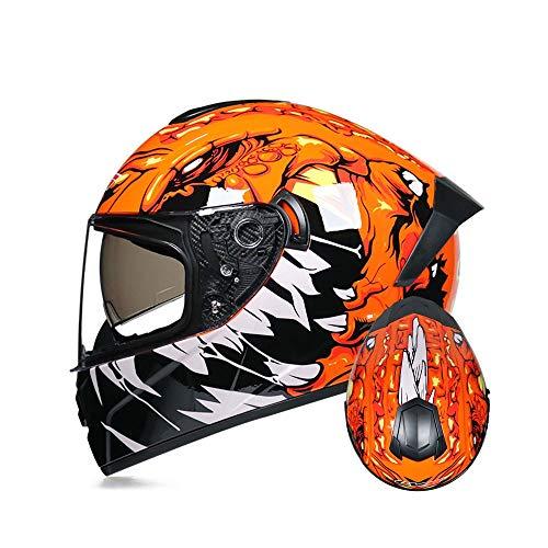 YDYDYD Casco De Moto Naranja, Coche Deportivo De Dos Lentes, Casco De Cuatro Temporadas con Cubierta Completa, Varios Estilos para Elegir (tamaño: S, M, L, XL)