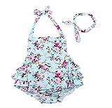 China Rose 50's Floral Ruffles Rompers Backless Dress Bathing Suit Swimwear (Medium,Light Blue)