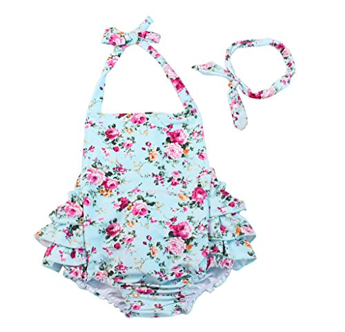 China Rose 50's Floral Ruffles Rompers Backless Dress Bathing Suit Swimwear (Small,Light Blue)