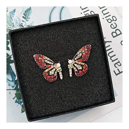 GSZPXF Y la Personalidad de la Moda de Mariposa Corto del Color del Clavo del oído del Partido del Taladro del Clavo del oído Accesorio (Color : ED296hongzuan)