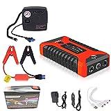 Zxqiang Démarrage Batterie Voiture+Gonfleur,20000mah 600a Booster De Batterie Externe Portable De Secours,Outil électrique Extérieur pour Motos Bateau RV,avec 4 Ports UsbLumière LED,Pinces,Red