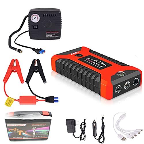 Zxqiang Paquete De Arranque De Batería De Automóvil+Inflador,20000 Mah 600A,Refuerzo De Banco De Energía De Emergencia Portátil para Exteriores,con 4 Puertos USB,Luz Led, Abrazaderas,Red