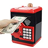 Suliper Electronic Piggy Bank Code Lock for Kids Baby Toy, Mini ATM Safe Coin Banks Money Saving Box Password for Children,Boys Girls Birthday (Black/Red)