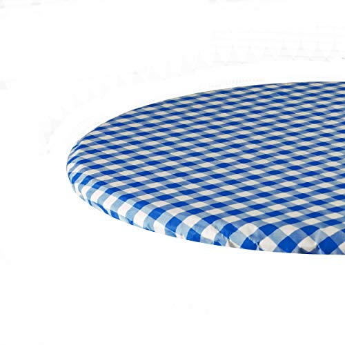 Sorfey Indoor/Outdoor Vinyl Fitted Tablecloth Cover, Checkered Design, Flannel Backed Lining Stretched to Fit 60 Inch Round Table, Blue