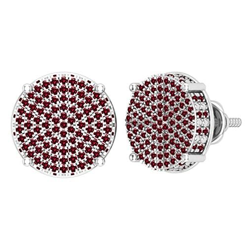 Dazzlingrock Collection Pendientes redondos de 0,50 quilates (quilates) de diamante rojo redondo para mujer, círculo pavimentado con tuerca de 1/2 quilates, oro blanco de 14 quilates
