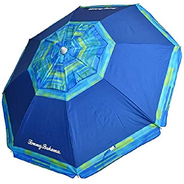 Tommy Bahama RokPack Sand Anchor 7 feet Beach Umbrella with Tilt and Telescoping Pole (Blue)