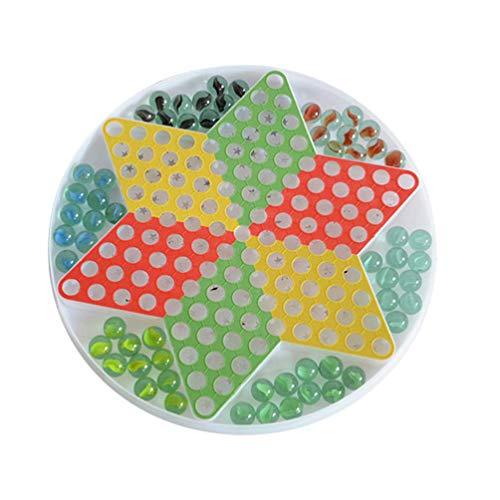 RENFEIYUAN Chinesische Checkers Game Fliegende Schachglasperlen Checker-Spiel Indoor Checkers Board-Aktivitäten Spielzeug für Kinder-Elternteil damespiel