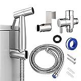 Bidet Sprayer for Toilet, Handheld Cloth Diaper Sprayer, Bathroom Sprayer Kit Spray Attachment with Hose, Stainless Steel Easy Install Great Water Pressure for Bathing Pets, Feminine Hygiene