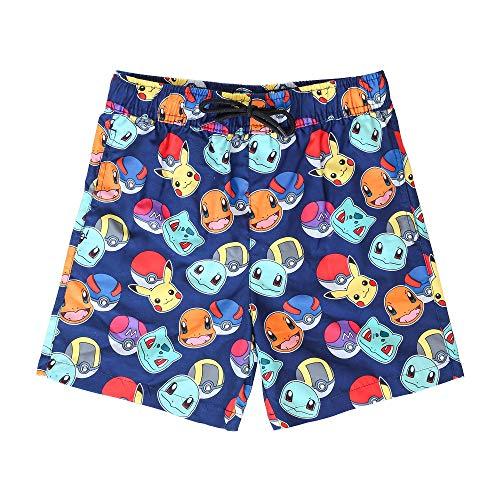 Pokémon Pantaloncini per Bambino, Costume da Bagno Blu, Pantaloncini da Spiaggia Asciugatura Veloce, Swim Shorts Elasticizzato in Vita con Stampa Pikachu all Over (7/8 Anni)