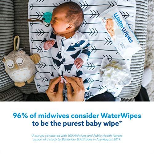 WaterWipes Lingettes Bébé pour Peaux Sensibles, 4 Paquets de 60 (240 Lingettes)