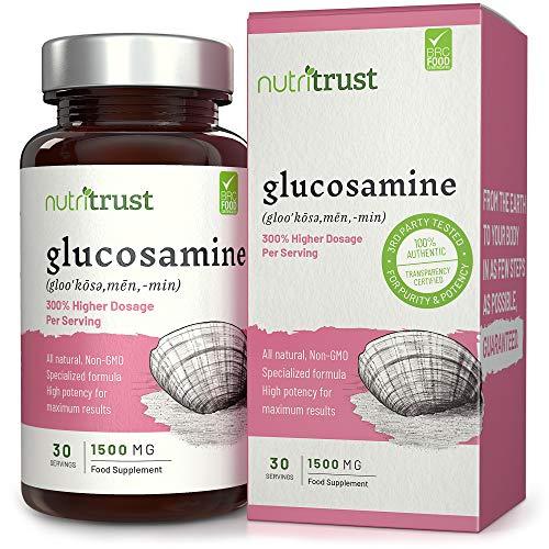 Glucosamin 1500 mg Kapseln von Nutritrust® - 300% Potenz All-Natural Formula - Hohe Potenz für maximale Ergebnisse - Nicht GVO Glucosaminsulfat Nahrungsergänzungsmittel für Gelenke und Knorpel