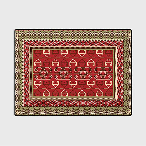 Turkish Pattern Modern Area Rug Rectangular Frames and Abstract Shapes with Ottoman Origins Desk mat for Carpet Ruby Pistachio Green Brown 6 x 8.8 Ft