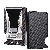 SEOYER Cards Clip Wallet & Multitool - Carbon Fiber Tactical Wallet Slim Pocket Credit Card Holder   RFID Blocking   Perfect Gift   Professional Personalise Version (Carbon Fiber-Black)