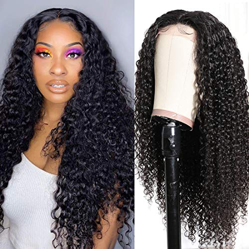 Nadula Silk Base T Part Lace Closure Curly Wigs Human Hair For Black Women, Brazilian Lace Closure Middle Wig 4x0.75 Remy Human Hair Wig 150% Density Pre Plucked with Baby Hair Natural Color (24inch)