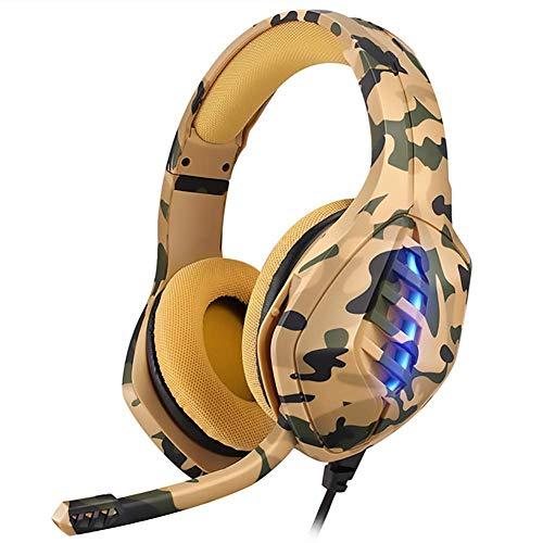 WZLJW - Auriculares de diadema para videojuegos (estéreo, muy ajustables, 120 grados), micrófono de 50 mm, compatible con PC PS4 Mobile PC, camuflaje amarillo