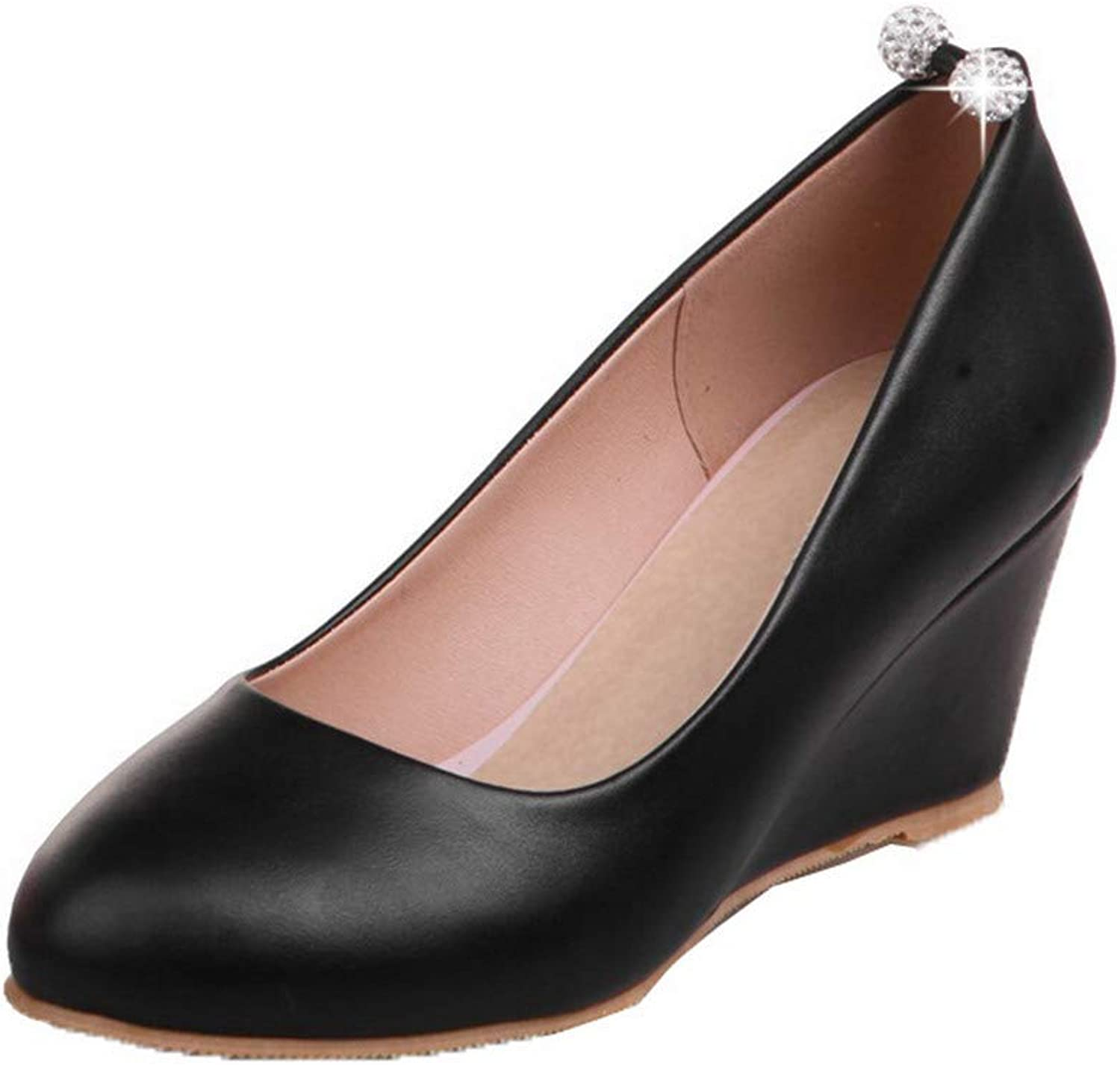AmoonyFashion Women's Kitten-Heels PU Solid Pull-On Pumps-shoes,BUTDT005758