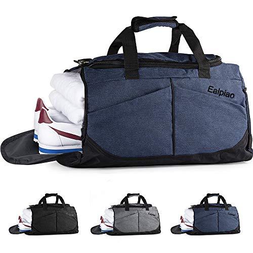 Bolsa de Deporte con Compartimento para Zapatos Viaje Impermeable Plegable Bolsa Gimnasio de Viaje Mochila Multiusos Travel Duffle Bag (Azul)