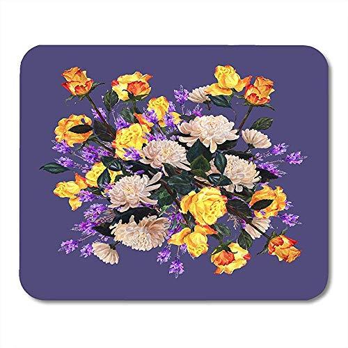 Muiskussentjes Groen Bloem Bloemenrozen Chrysant Lavendel op Lila Sjaal Aquarel Schilderij Paars Botanische Muismat 25X30cm
