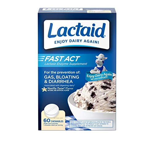 Lactaid Fast Act Lactose Intolerance Relief Chewables with Lactase Enzyme to Prevent Gas, Bloating & Diarrhea Due to Lactose Sensitivity, Ideal for Travel & On-the-Go, Vanilla Twist, 60 Packs of 1-ct.