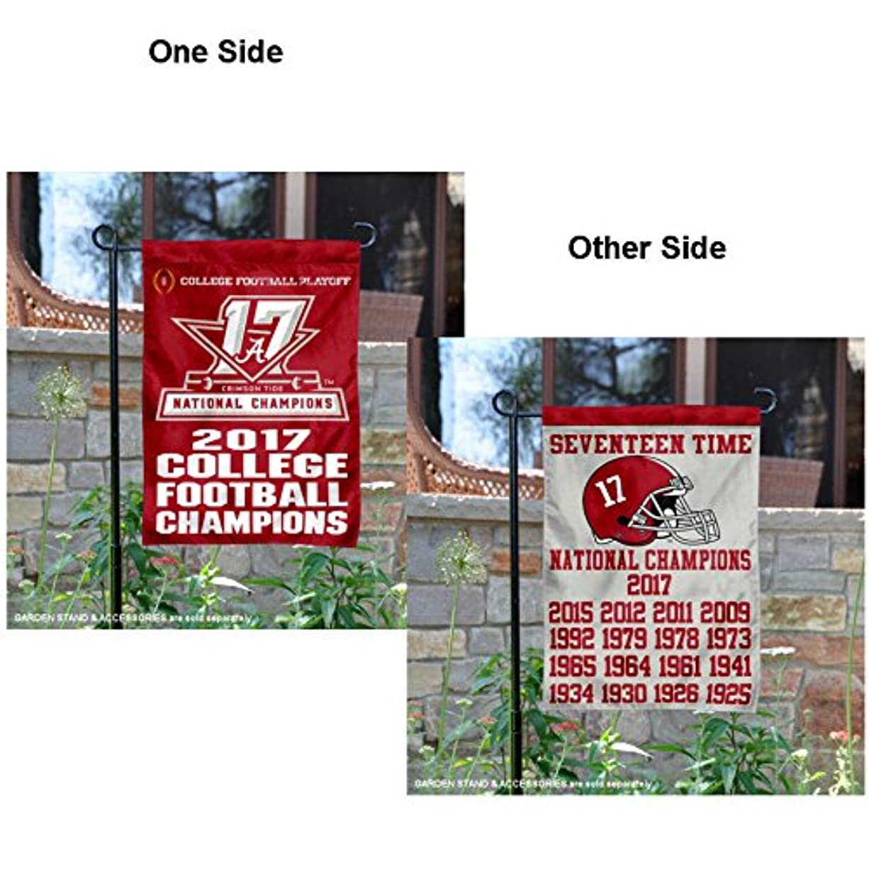 男らしさアジア伝導率Alabama Crimson Tide 17時間CFP Football Champions Garden Flag