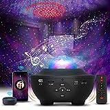 Vivibel Proyector de cielo estrellado LED, lámpara de proyección de ondas de agua, luz nocturna con cambio de color, reproductor de música con temporizador Bluetooth para niños y adultos
