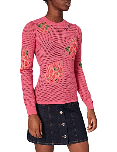 Love Moschino Fitted Pullover Long Sleeves, in Mesh Knit Stretch Viscose, 14 Gauge, with Intarsia Flowers. Maglione, F.Rosa/Fio.Ross, 44 Donna