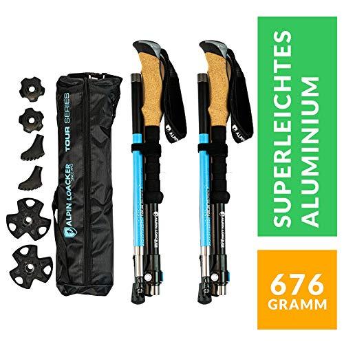 Alpin Loacker Faltbare Wanderstöcke, Skitourenstöcke | höhen-verstellbare Trekkingstöcke mit Korkgriff inkl. Zubehör | aus stabilem, bruchfestem Aluminium (Blau)