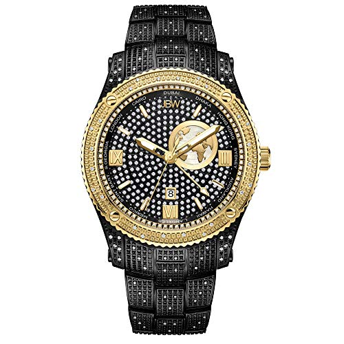 JBW Luxury Men's Jet Setter GMT J6370C1.00 Karat Diamond Wrist Watch with Gold-Plated Stainless Steel Bracelet