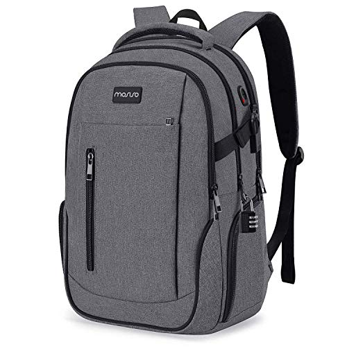 MOSISO 17 inch laptop rugzak, zakenreis school anti-diefstal daypack met USB-aansluiting & vergrendeling&trolley ruggordel voor vrouwen mannen, waterafstotend boekentas laptoptas, space grijs