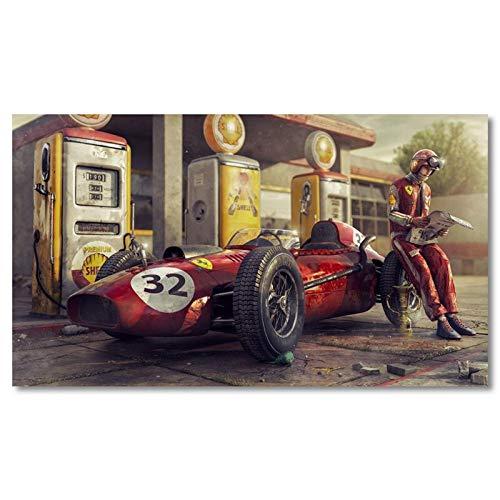 HUAZAI Coche de la Vendimia del Cartel Ferrari Classic Racing F1 Race Car Pared Ilustraciones Bellas Artes impresión de la Lona Pintura for el hogar Living Room Decor