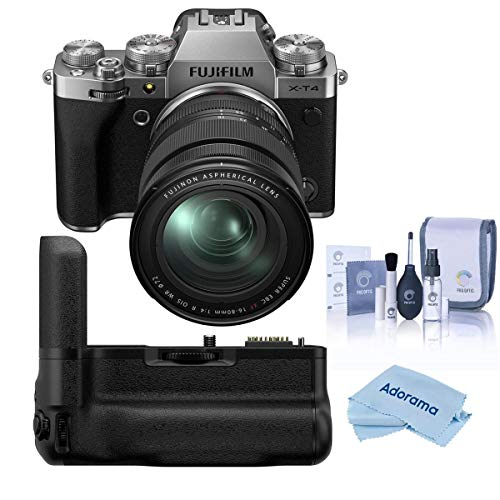 Fujifilm X-T4 Mirrorless Digital Camera with XF 16-80mm f/4 R OIS WR Lens, Silver Vertical Battery Grip for X-T4, Cleaning Kit, Microfiber Cloth