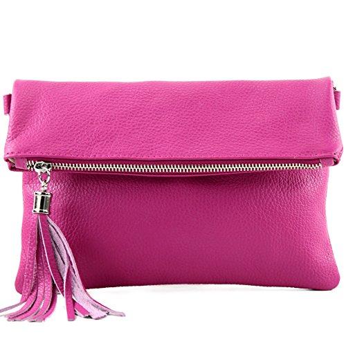 modamoda de - T167 - ital Clutch/Umhängetasche Leder Klein, Farbe:Pink