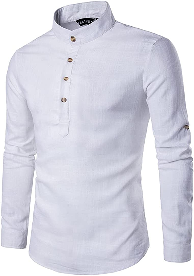 Eyastvgnf Mens Linen Shirts Long Sleeve Button Down Solid Loose Spring Autumn Dress Henley Shirts
