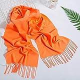 Bufanda Bufanda De Moda De Color Sólido para Mujer, Hijabs De Invierno con Borlas, Chales Largos para Mujer, Chales De Cachemira, Hijabs, Pañuelo para Hombre, Bufandas Naranjas