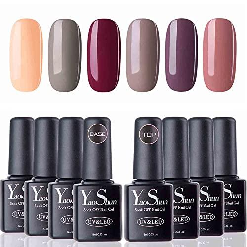 Vernis Gel Semi Permanent - Y&S UV LED Vernis à Ongles Gel Soak Off 8pcs x 8ml Débutant Kit, 6 Couleurs + Top et Base Coat, Lot Nude Populaire