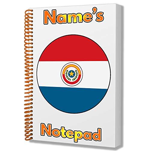 Regalo personalizado – Bandera de Paraguay A5 Bloc de notas/cuaderno – Regalo – Cumpleaños – Navidad – Relleno de calcetín – Papá Noel secreto – Añadir cualquier nombre